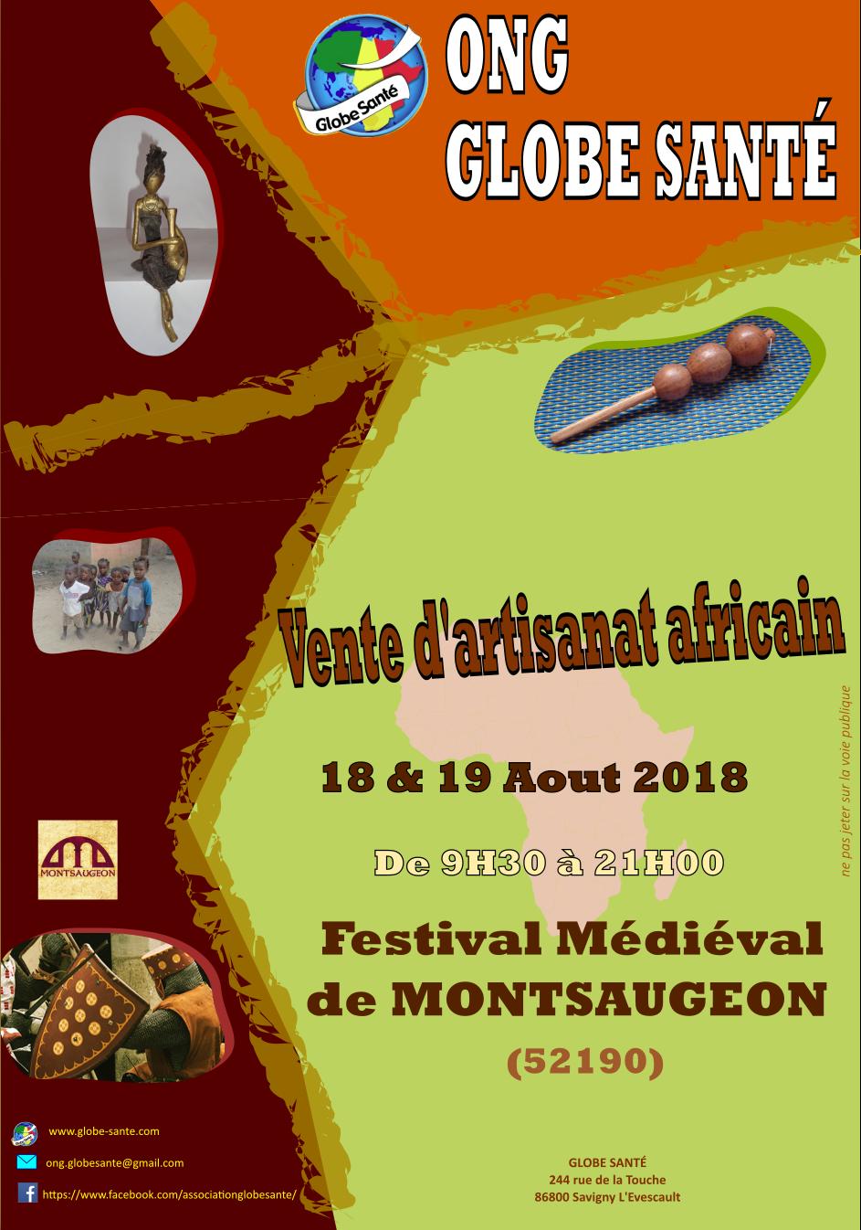 Vente Artisanat du Bénin: Festival médiéval de MONTSAUGEON en haute marne